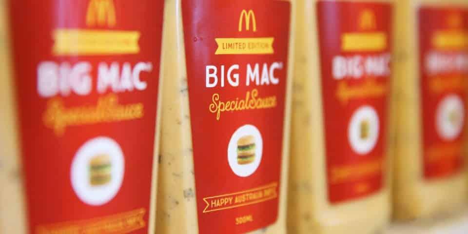 Australie La sauce Big Mac vendue aux enchères pour 100$