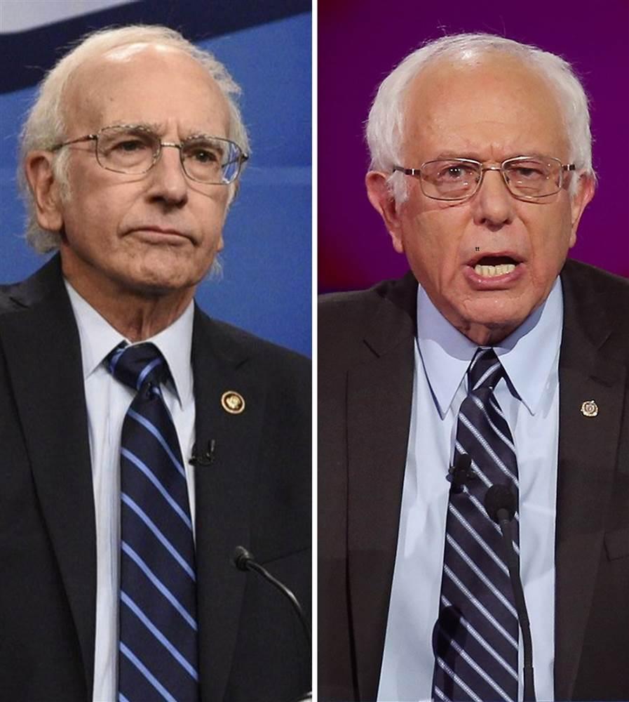 Bernie Sanders rencontre son imitateur Larry David  au Saturday Night Live