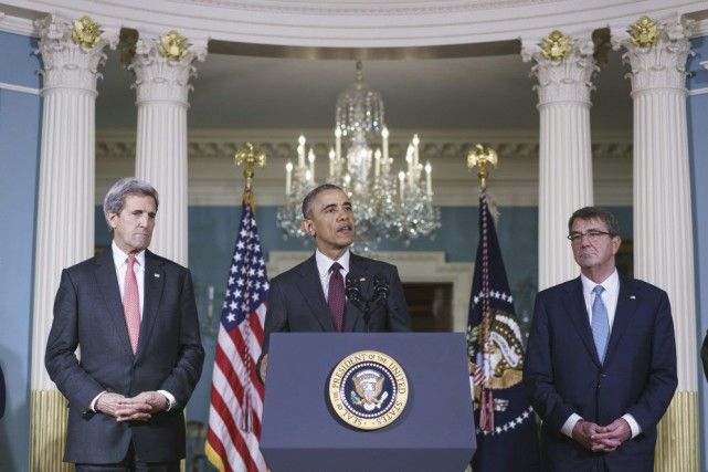 John Kerry, Barack Obama et Ashton Carter - photo AFP
