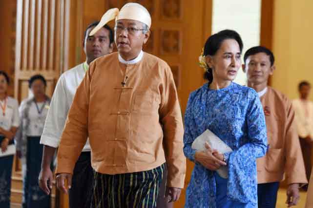 Aung-San-Suu-Kyi-et-le-président