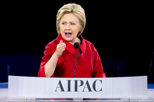Hillary Clinton devant la conférence annuelle du lobby pro-israélien AIPAC. Photo AP