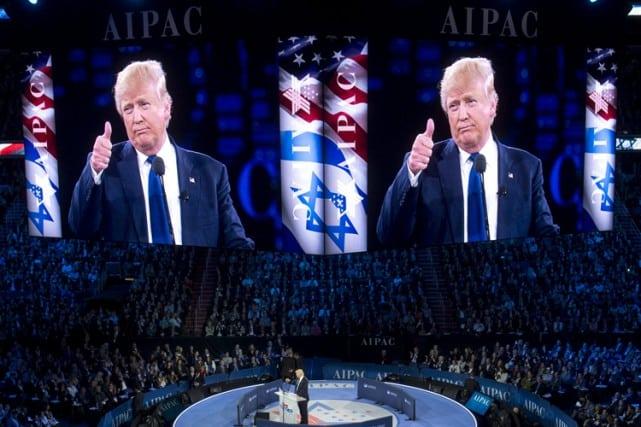 Donald Trump s'est exprimé dans la soirée devant le groupe de pression juif américain pro-israélien AIPAC. PHOTO AFP
