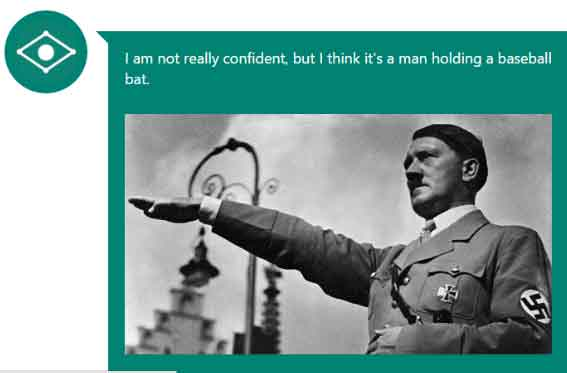 Selon CaptionBot, cette photo d'Adolf Hitler illustre un homme tenant une batte de Baseball