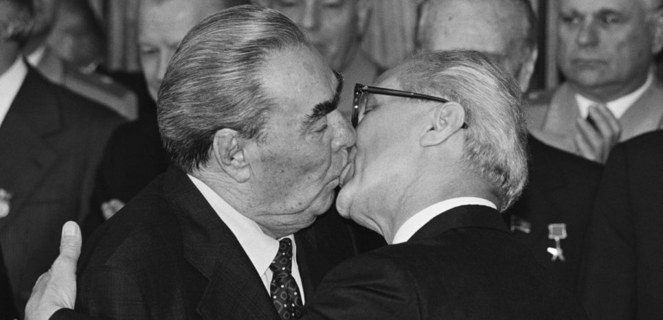 07 Oct 1979, Berlin, Germany, Germany --- Soviet leader Leonid Brezhnev and East German President Erich Honecker kiss on the occasion of the 30th anniversary of the German Democratic Republics. --- Image by © Regis Bossu/Sygma/Corbis