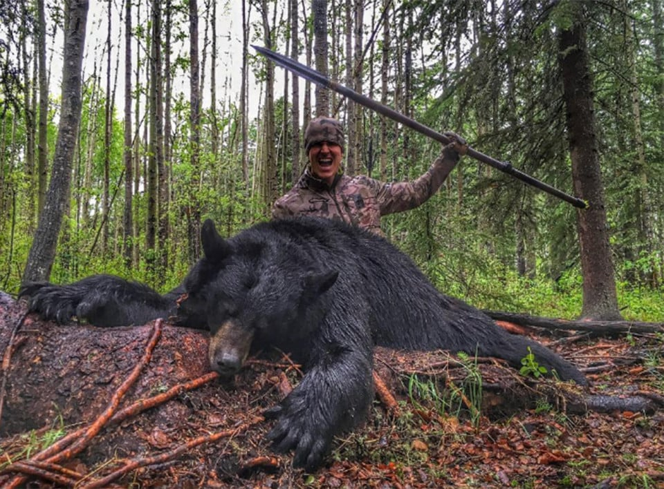 Josh Bowmar of Bowmar Bowhunting  Josh lured and speared a black bear to it's death in a YouTube video. These pictures are taken from his open Instagram account.