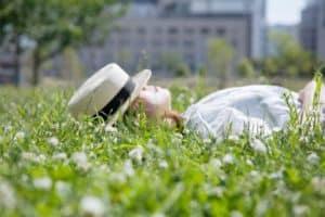 woman at green field