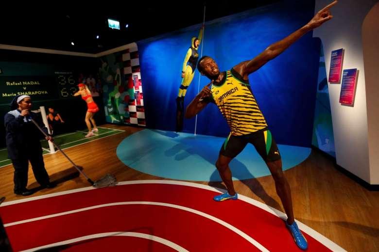 Le sosie en cire de la légende Usain Bolt. Photo AFP